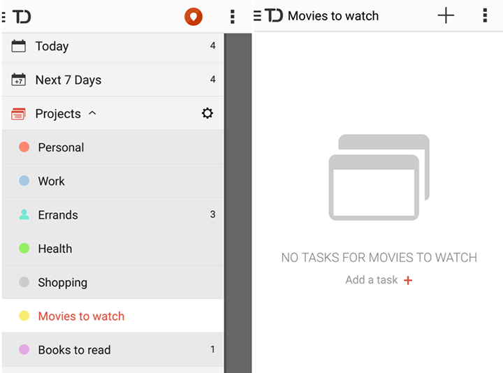 Fonte: TODOIST - Android